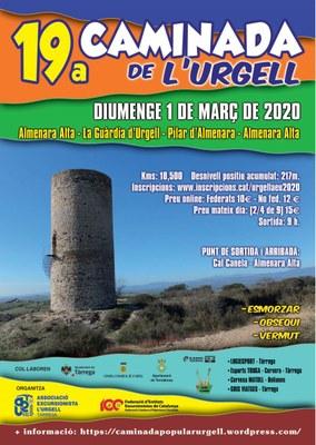 19a Caminada de l'Urgell. Diumenge 1 de març de 2020