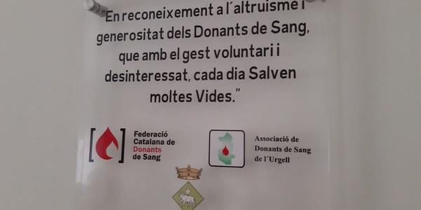 Placa en Homenatge als Donants de Sang de Tornabous.