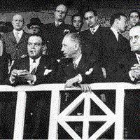 Josep Sunyol i Lluís Companys a la llotja de l'estadi de les Corts / FC Barcelona